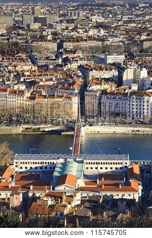 Bridge, River And Rooftop, Lyon, France