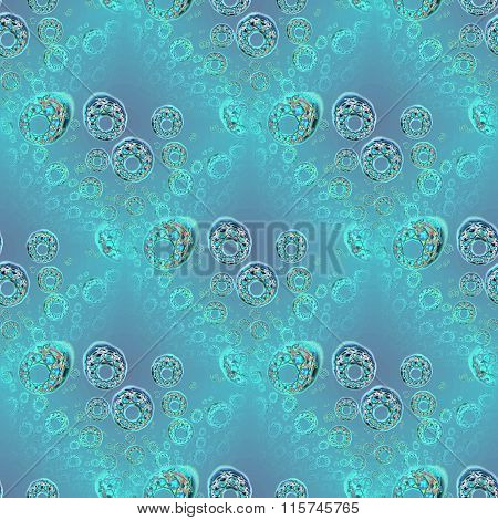 Seamless circles and diamond pattern turquoise purple