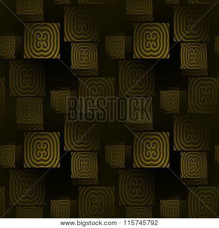 Seamless square pattern green black