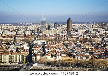 Business Towers And Rooftop, Lyon, France