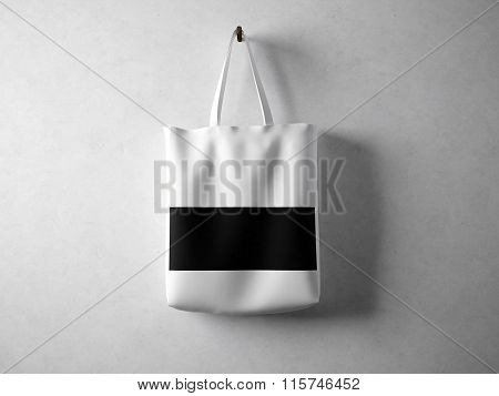 White cotton textile bag with black line in center holding, neutral background. Horizontal 3d render
