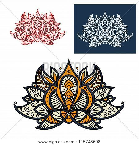 Indian beige, orange and gray paisley flower