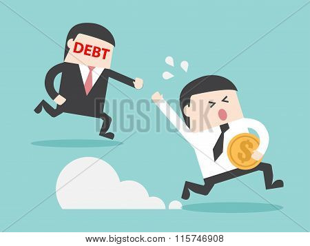 Debt Hunting Grabbing Businessman With Money