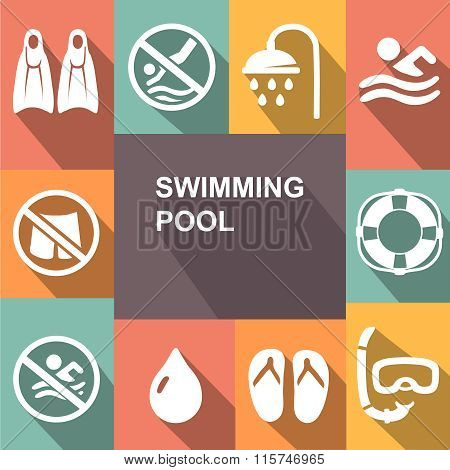 Swimming sign icon. Pool swim symbol. Sea wave. Diving. mask, flippers and shower.