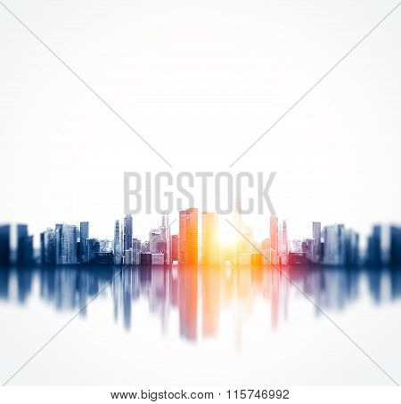 Panoramic view of a megalopolis with reflection