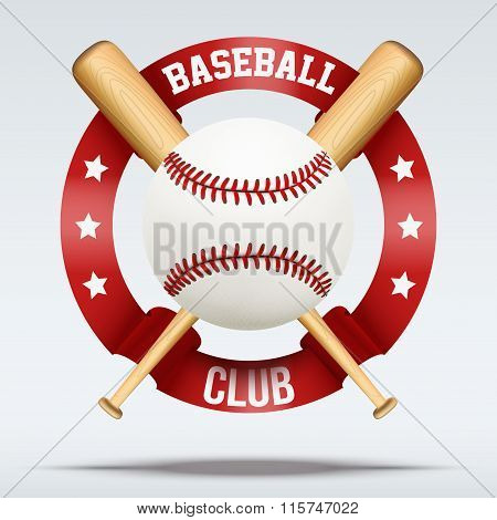 Baseball ball and wooden bats with ribbons