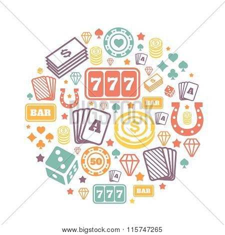 Gambling icons set, casino and card, poker game.  backround