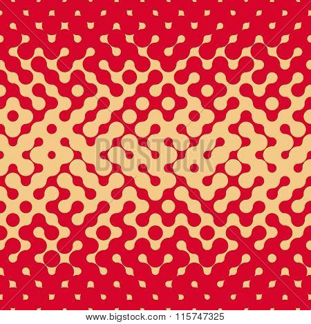 Vector Seamless Rounded Halftone Gradient Irregular Retro Grungy Red  Tan Pattern