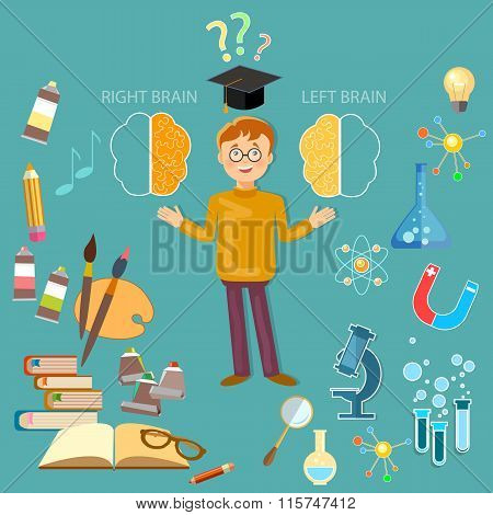 Schoolboy Studying Left And Right Brain Analytical And Creativity Education Concept Vector