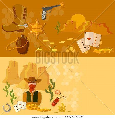 Wild West  Banners Western Cowboy Landscape