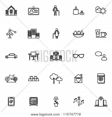 Retirement Community Line Icons On White Background