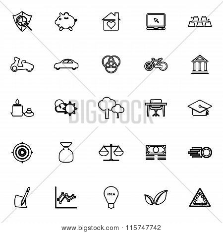 Sufficient Economy Line Icons On White Background