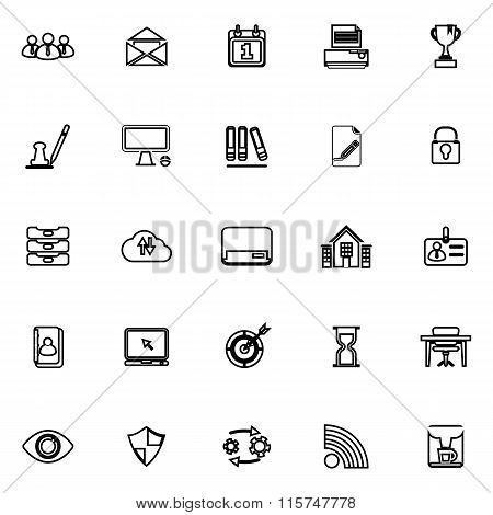 Business Management Line Icons On White Background