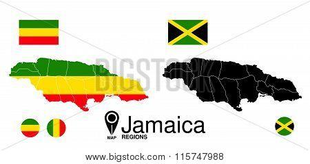 Jamaica Map With Flag.  Reggae Map Of Jamaica