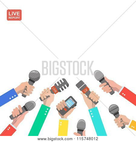 hands of journalists with microphones and digital recorders