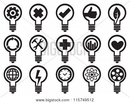 Conceptual Light Bulbs Vector Icon Set