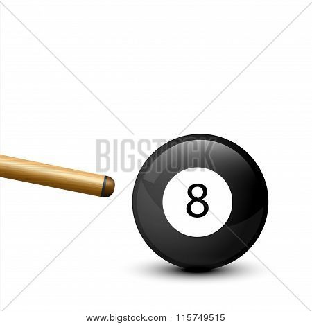 8 Ball from pool or billiards on a white background