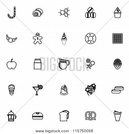Sweet Food Line Icons On White Background