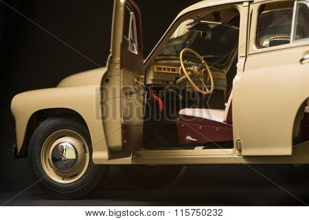 retro car interior on a black background
