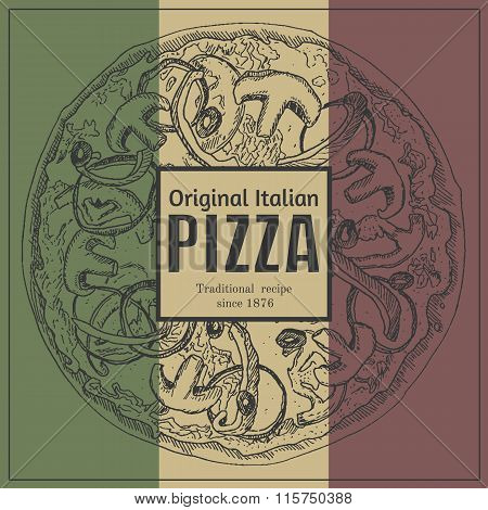 Ink hand drawn pizza package box illustration template