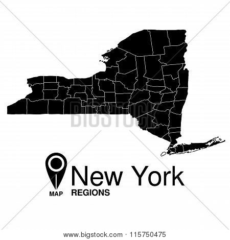 Regions Map Of New York. Usa