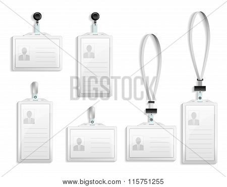 Vector Templates For Name Tag With Lanyard, Retractor End Badge