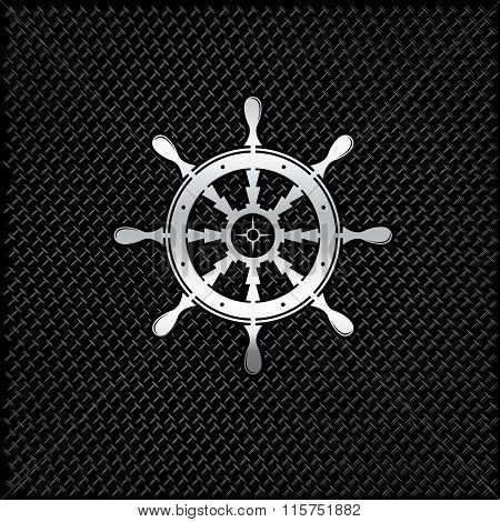 Silver Wheel On Metal Background