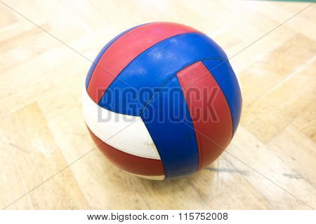 The glued volleyball in the school gym