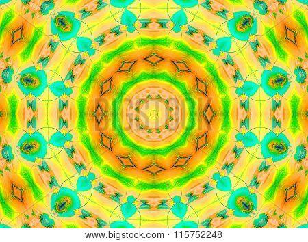 Seamless circle pattern yellow orange turquoise