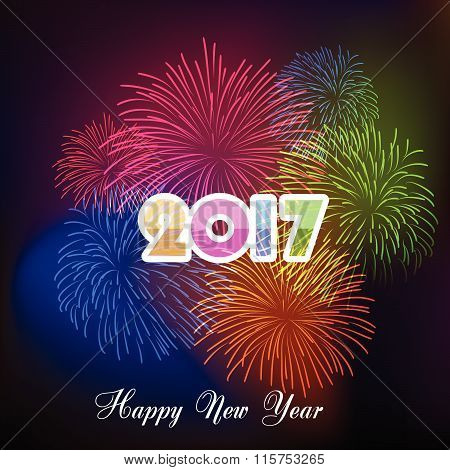 Happy new year fireworks 2017 holiday background