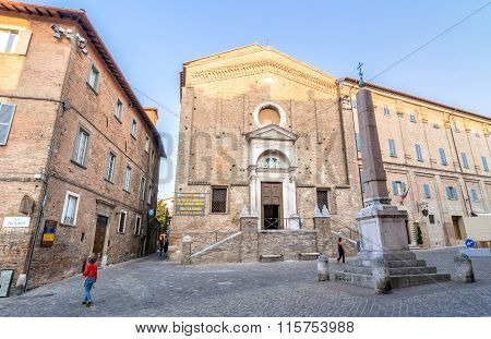 Piazza Del Duca Square And Church In Urbino