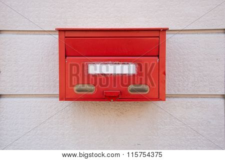 Closed Up The Red Mailbox In Japan