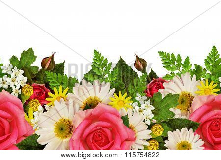 Rose, Asters And Wild Flowers Edge