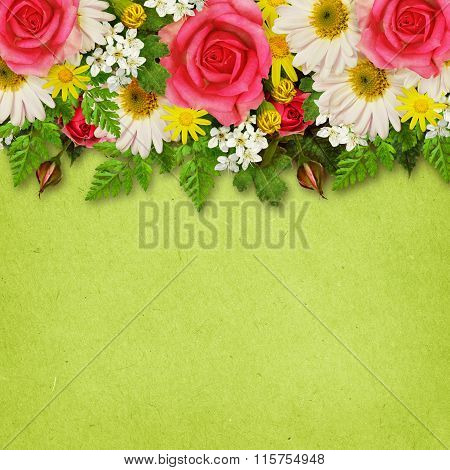 Rose, Asters And Wild Flowers Decoration For Background