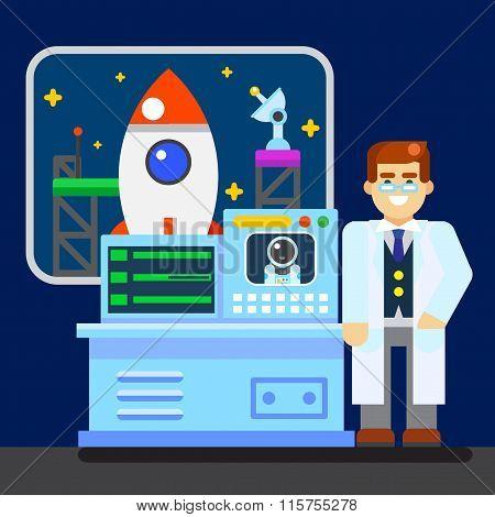 Scientist with spaceship