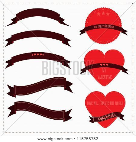 Set of red ribbons, hearts and logos in vintage retro style. for valentines, postcards or Ribbons, L