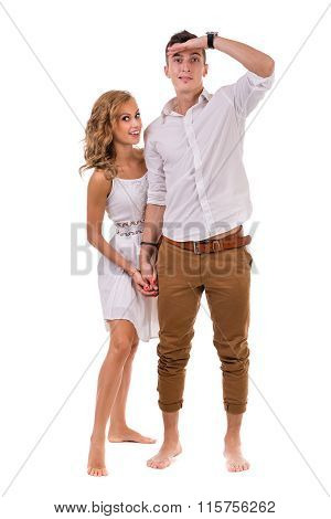 Cheerful young couple on white background, isolated