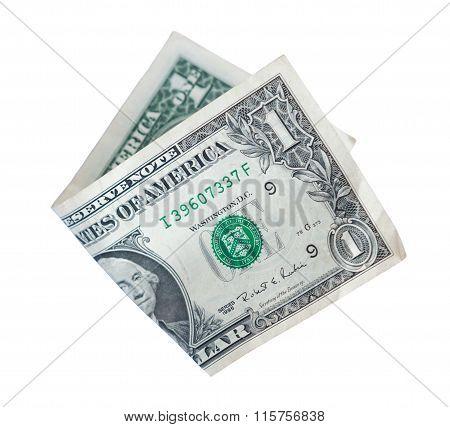 bent kupyura denominations of dollar on a white background