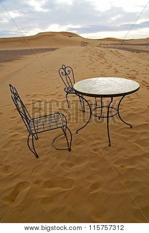 Table And Seat In   Morocco    Africa Yellow Sand