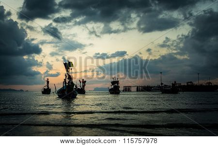 Many Fishing Boat In The Sea