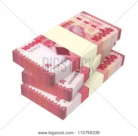 Tanzanian shilling bills isolated on white background. Computer generated 3D photo rendering.