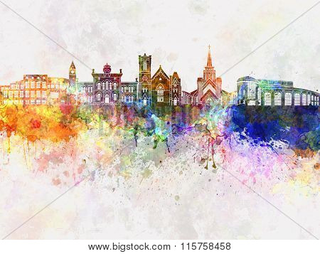 Brampton Skyline In Watercolor Background