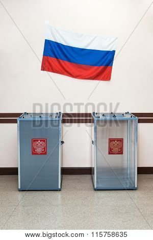Two Ballot Boxes For Voting In The Elections In Russian Federation