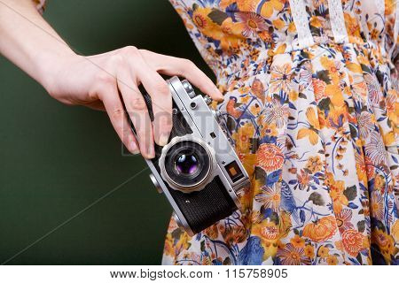 Vintage Camera In Hand