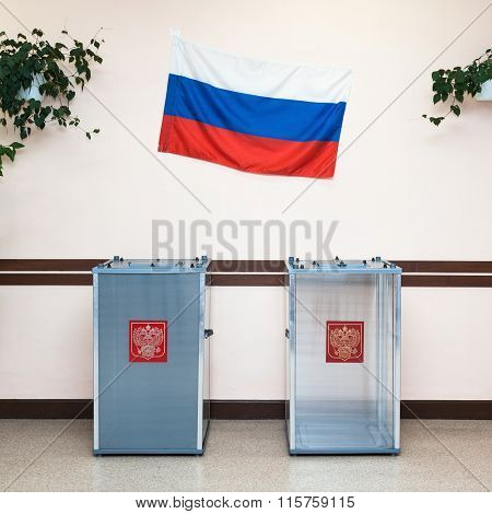 Two Ballot Boxes For Voting In The Elections In Russia