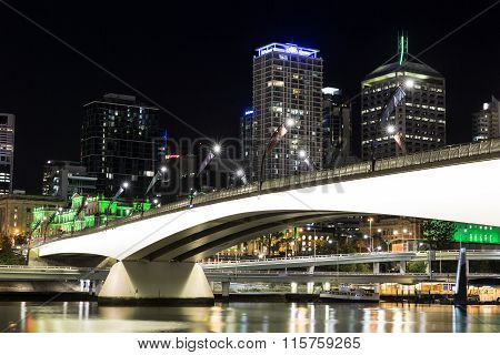 Brisbane City night cityscape and Victoria bridge