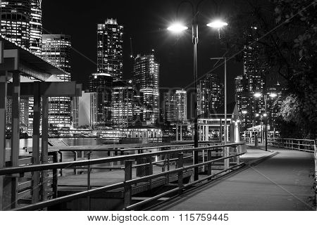 Brisbane City nightscape and Kangaroo Point