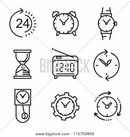 black flat clocks