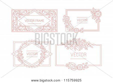 Vector Floral Frame With Copy Space For Text In Trendy Mono Line Style