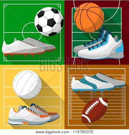 Football, basketball, volleyball and soccer icons